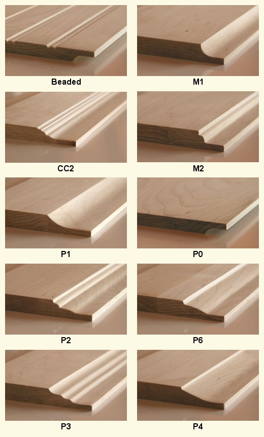 Available Panel Profiles For Our Solid Wood Doors